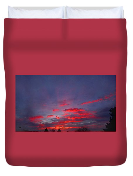Sunrise Abstract, Red Oklahoma Morning Duvet Cover