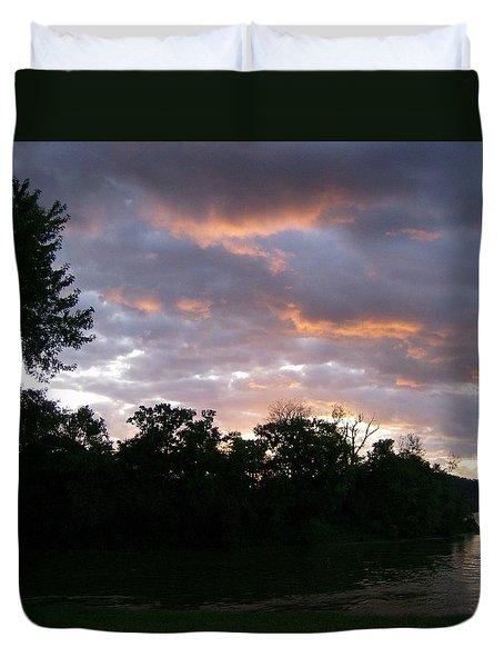 Sunrise Along The River Duvet Cover