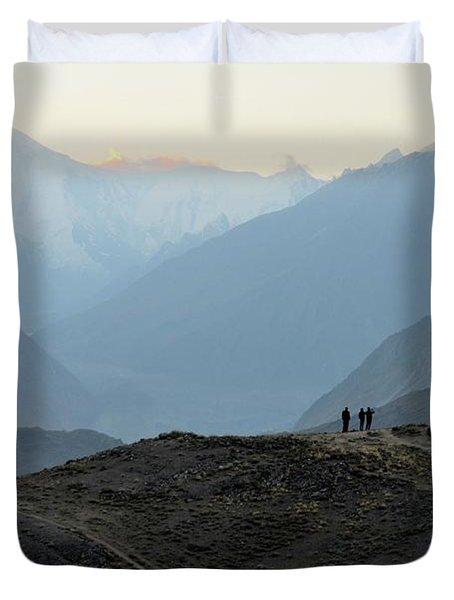 Sunrise Among The Karakoram Mountains In Hunza Valley Pakistan Duvet Cover