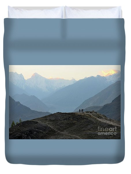 Sunrise Among The Karakoram Mountains In Hunza Valley Pakistan Duvet Cover