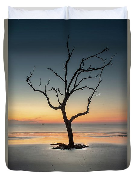 Sunrise And A Driftwood Tree Duvet Cover
