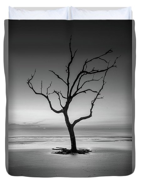 Sunrise And A Driftwood Tree In Black And White Duvet Cover