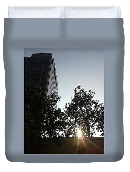 Sunrise And Building Duvet Cover