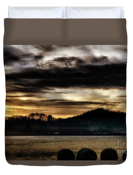 Duvet Cover featuring the photograph Sunrise And Hay Bales by Thomas R Fletcher
