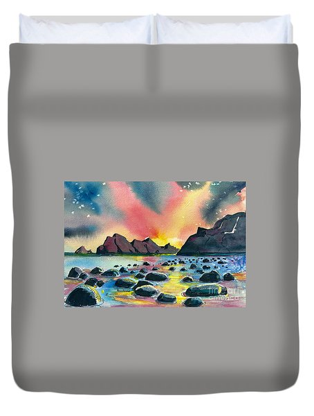 Sunrise And Water Duvet Cover by Terry Banderas