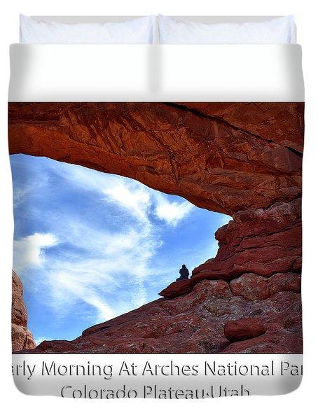 Sunrise Arches National Park Utah Text Duvet Cover