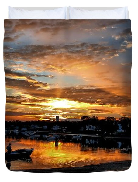 Sunrise At Back Cove Duvet Cover