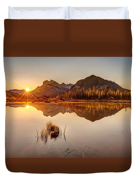 Sunrise At Banff's Vermilion Lakes  Duvet Cover