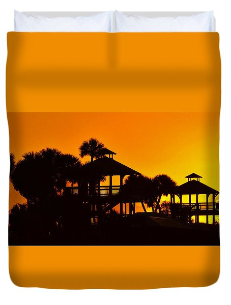 Duvet Cover featuring the photograph Sunrise At Barefoot Park by Don Durfee