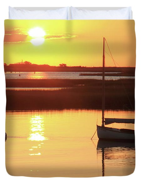 Duvet Cover featuring the photograph Sunrise At Bass River by Roupen  Baker