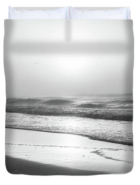 Duvet Cover featuring the photograph Sunrise At Beach Black And White  by John McGraw