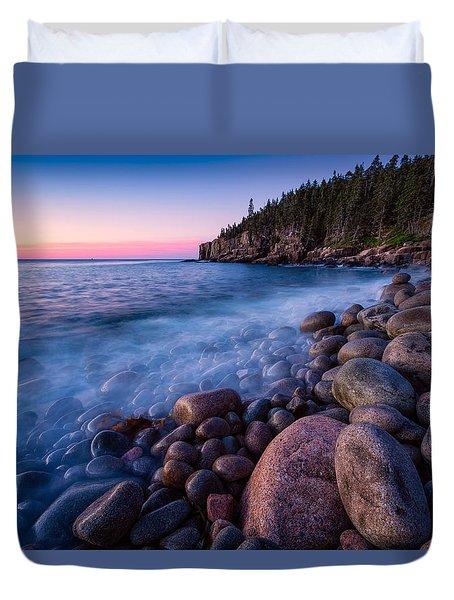 Sunrise At Boulder Beach Acadia Np Duvet Cover