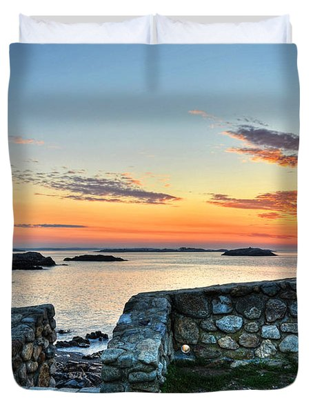 Sunrise At Castle Rock Marblehead Ma Duvet Cover