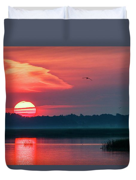 Duvet Cover featuring the photograph Sunrise At Cheyenne Bottoms 03 by Rob Graham