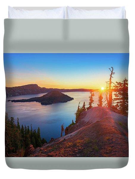 Sunrise At Crater Lake Duvet Cover