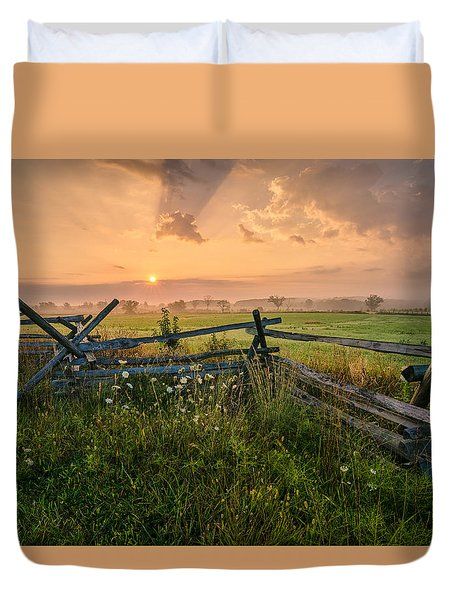 Sunrise At Gettysburg National Park Duvet Cover by Craig Szymanski