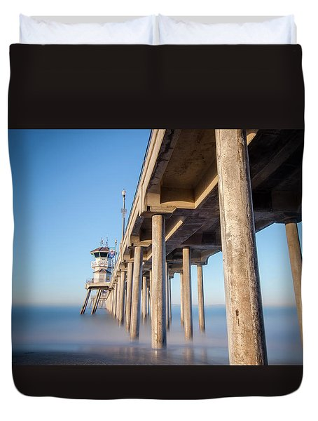 Sunrise At Huntington Beach Pier Duvet Cover