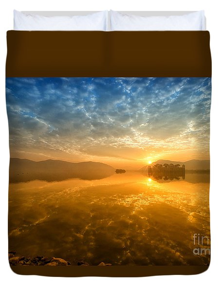 Sunrise At Jal Mahal Duvet Cover