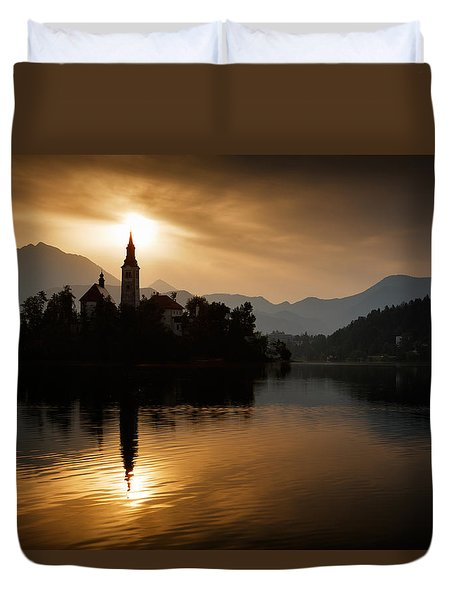 Duvet Cover featuring the photograph Sunrise At Lake Bled by Ian Middleton