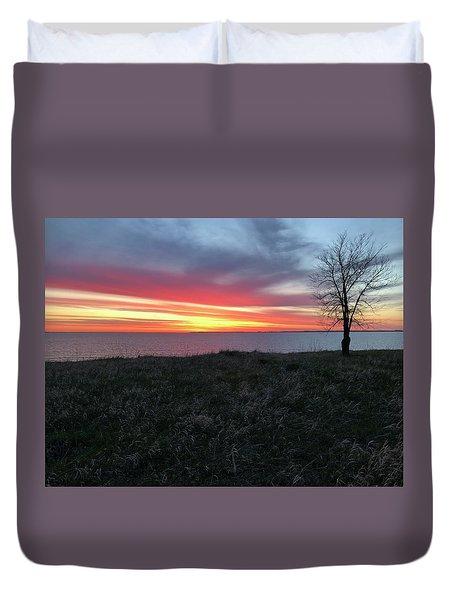 Sunrise At Lake Sakakawea Duvet Cover