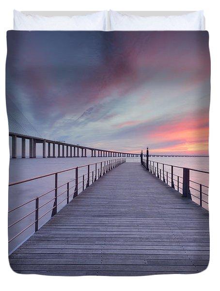 sunrise at Lisbon Bridge Duvet Cover