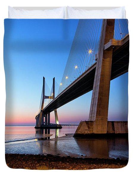 Sunrise At Lisbon, Vasco Da Gama Bridge Duvet Cover