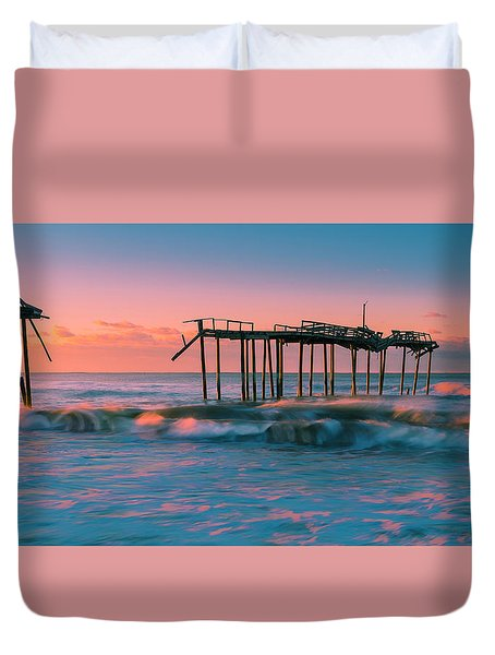 Duvet Cover featuring the photograph Sunrise At Outer Banks Fishing Pier In North Carolina Panorama by Ranjay Mitra