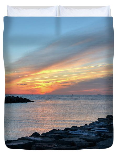 Sunrise At Point Pleasant Inlet Duvet Cover