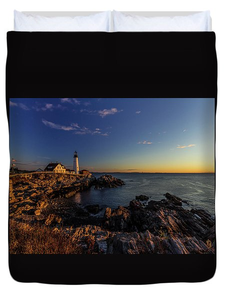 Sunrise At Portland Headlight Duvet Cover