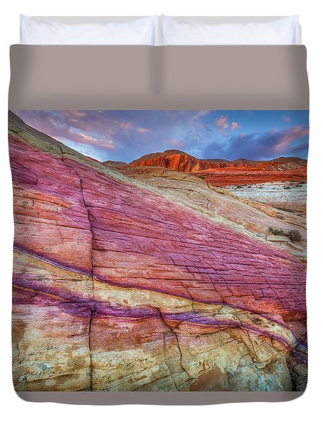 Duvet Cover featuring the photograph Sunrise At Rainbow Rock by Darren White