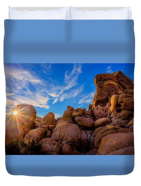 Duvet Cover featuring the photograph Sunrise At Skull Rock by Rikk Flohr