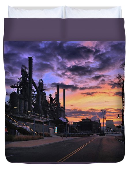 Duvet Cover featuring the photograph Sunrise At Steelstacks by DJ Florek