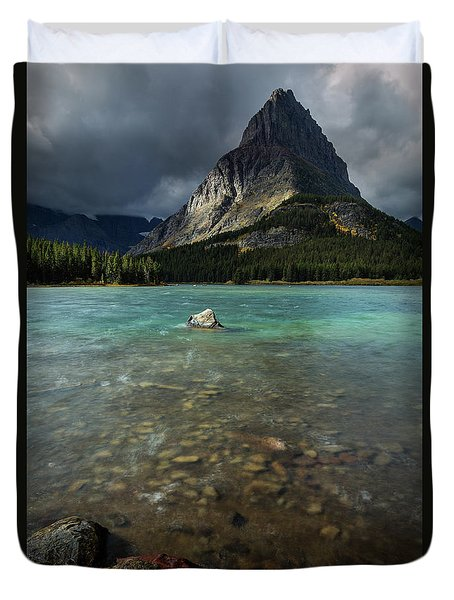 Sunrise At Swiftcurrent Lake Duvet Cover