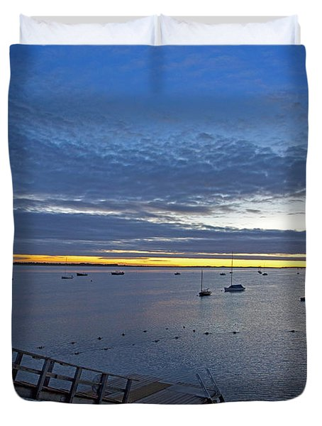 Sunrise At The Barnstable Yacht Club Duvet Cover