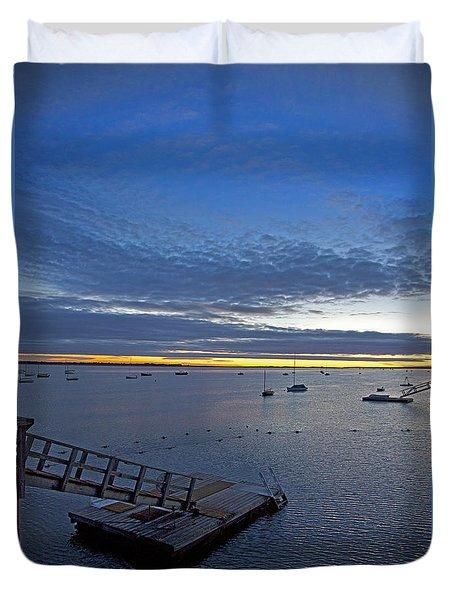 Sunrise At The Barnstable Yacht Club Duvet Cover