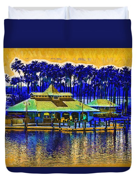 Sunrise At The Boat Dock Duvet Cover