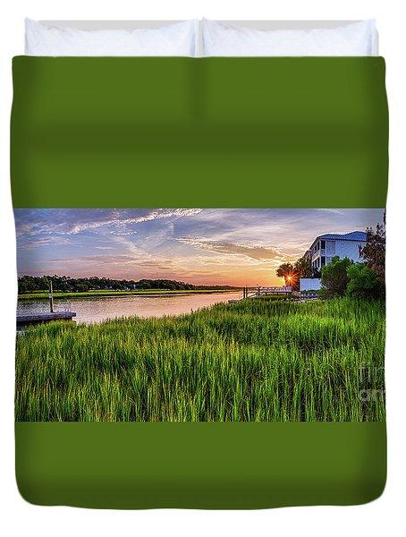Sunrise At The Boat Ramp Duvet Cover