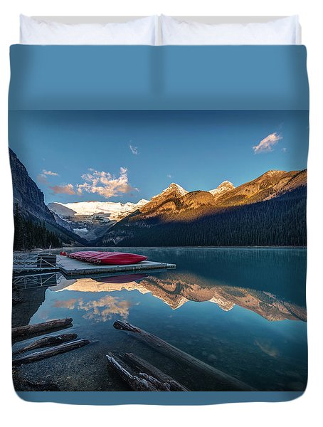 Sunrise At The Canoe Shack Of Lake Louise Duvet Cover