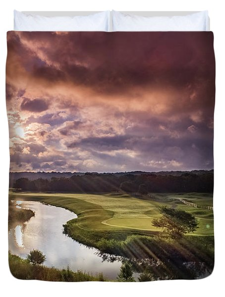Sunrise At The Course Duvet Cover