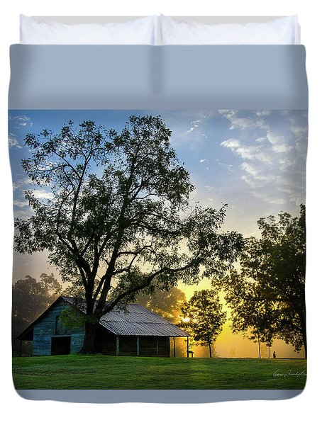 Sunrise At The Farm Duvet Cover by George Randy Bass