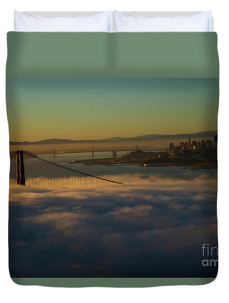 Duvet Cover featuring the photograph Sunrise At The Golden Gate by David Bearden