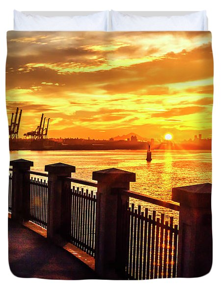 Duvet Cover featuring the photograph Sunrise At The Harbor by John Poon