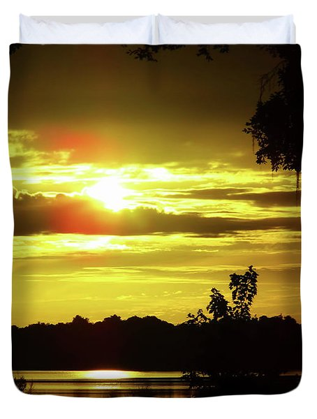Sunrise At The Lake Duvet Cover