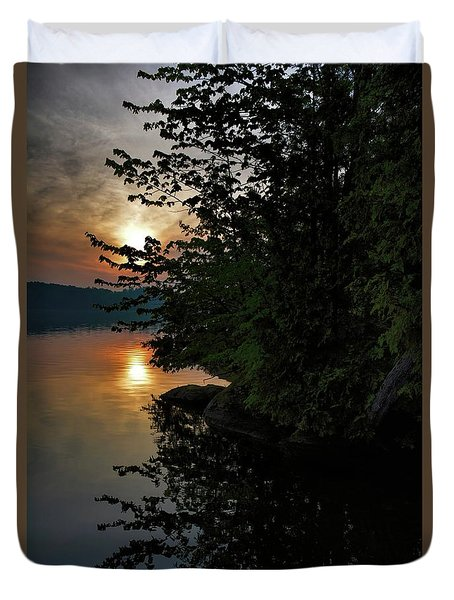 Duvet Cover featuring the photograph Sunrise At The Lake by Henry Kowalski