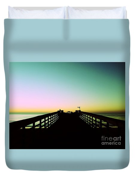 Sunrise At The Myrtle Beach State Park Pier In South Carolina Us Duvet Cover
