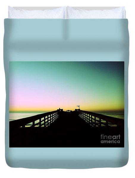 Sunrise At The Myrtle Beach State Park Pier In South Carolina Us Duvet Cover by Vizual Studio