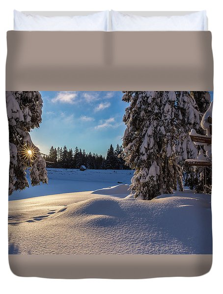 sunrise at the Oderteich, Harz Duvet Cover