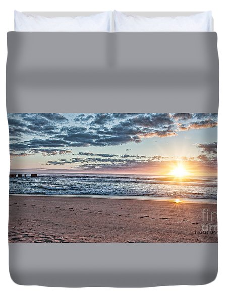 Duvet Cover featuring the photograph Sunrise At The Outer Banks by Laurinda Bowling