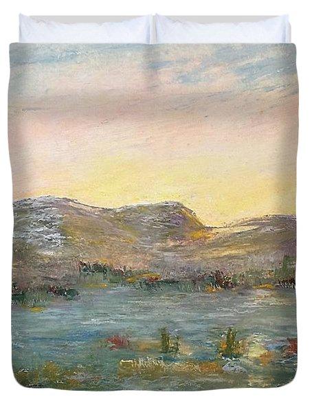 Sunrise At The Pond Duvet Cover