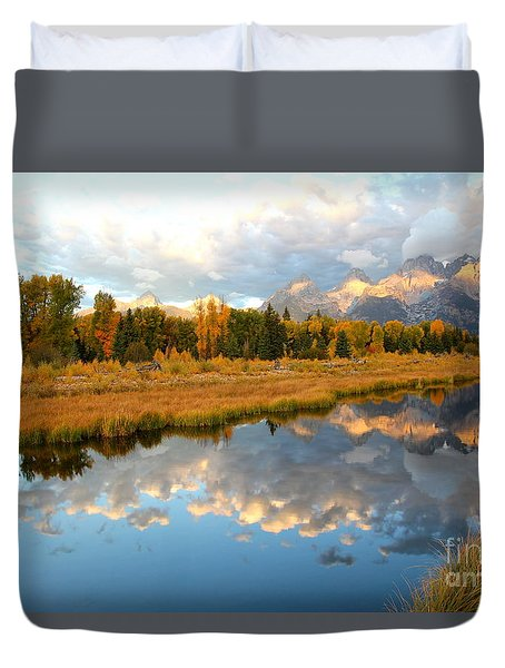 Sunrise At The Tetons Duvet Cover